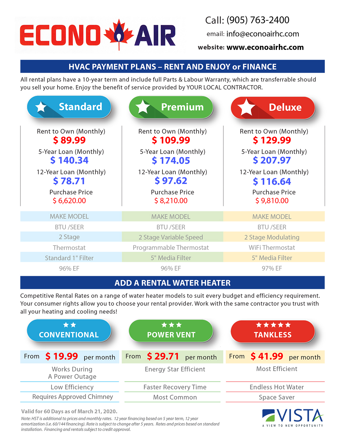 Vista Price Sheet
